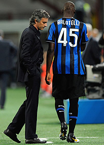 Mario Balotelli and Jose Mourinho