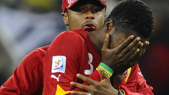 Asamoah Gyan was inconsolable at the end of penalties