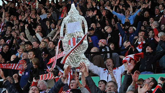 Stoke City fans celebrate after the final whistle