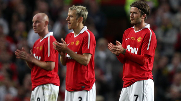 Nicky Butt, David Beckham and Phil Neville testimonial