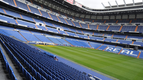 Empty Bernabeu stadium