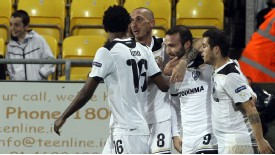 PAOK's Dimitris Salpingidis (second from right) celebrates opening the scoring against Shamrock Rovers