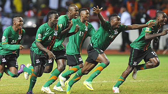 Zambia players celebrate their dramatic shoot-out win in Libreville