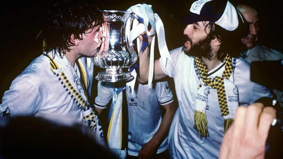 Tottenham duo Glenn Hoddle and Ricardo Villa  lift the1981 FA Cup