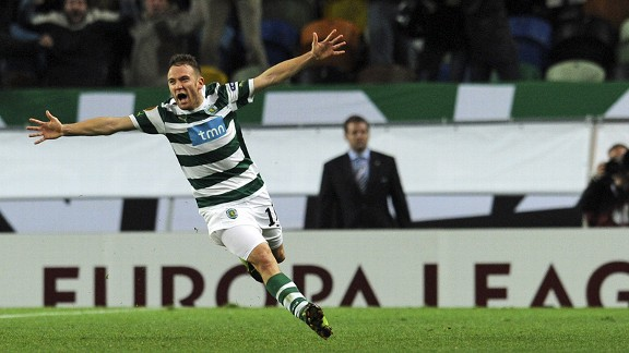 Sporting midfielder Diego Capel celebrates his brilliant winner against Athletic