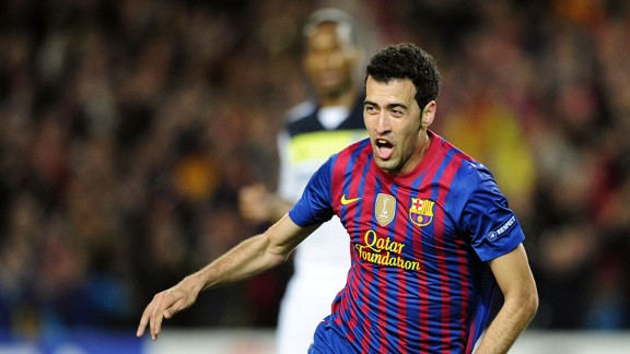 Sergio Busquets celebrates after tapping home the opening goal at the Camp Nou