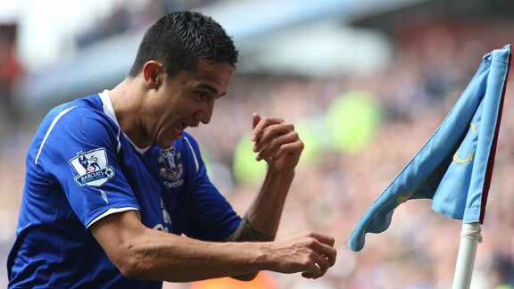 Tim Cahill Everton flag punch celeb 2009