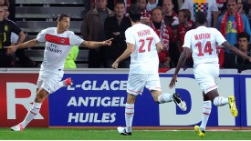 Zlatan Ibrahimovic celebrates a goal against Lille