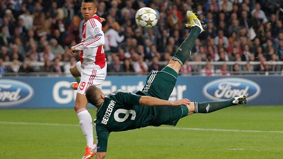 Real Madrid player Karim Benzema scores with a bicycle kick against Ajax