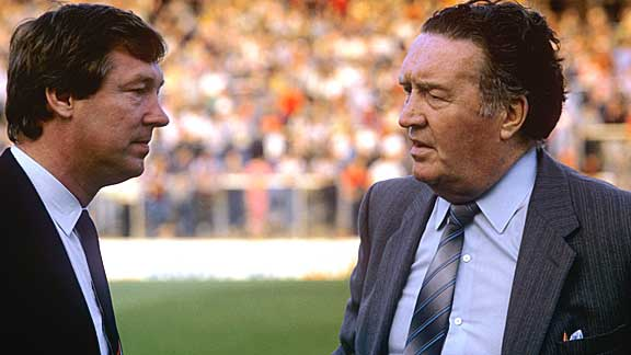 Alex Ferguson and Jock Stein on the day of  Stein's death at Ninian Park