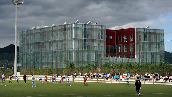 An external view of the site which aims to bring Barcelona's kids through to the first team