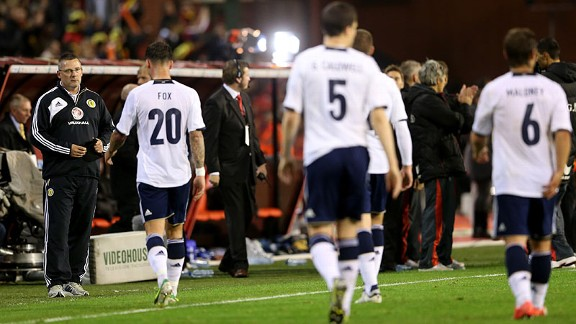 Scotland manager Craig Levein looks dejected following defeat to Belgium