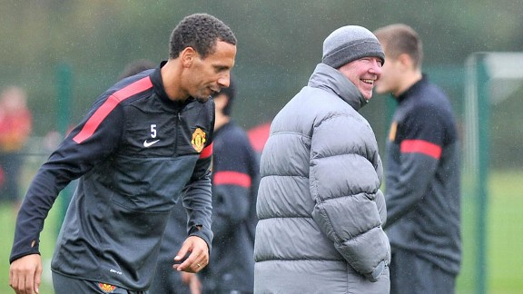 Rio Ferdinand Sir Alex Ferguson Manchester United training
