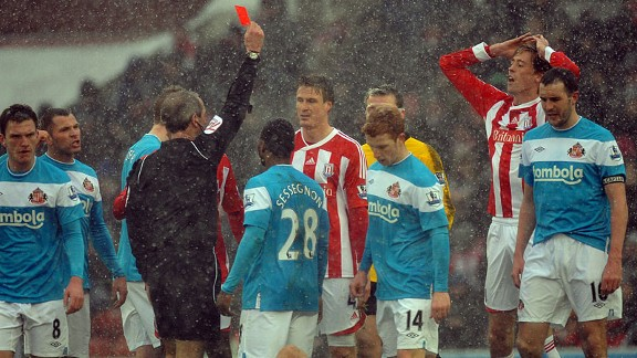 Stoke City's Robert Huth is sent off against Sunderland