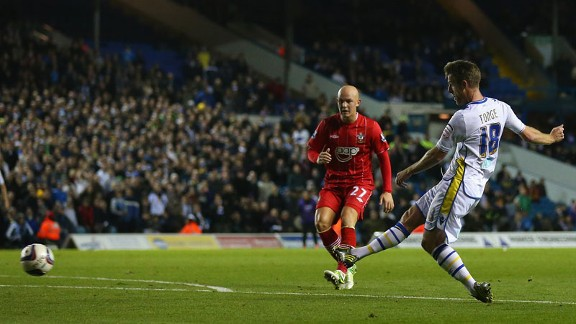 Michael Tonge fires Leeds ahead against Southampton