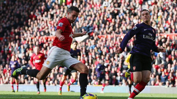 Robin van Persie shot v Arsenal
