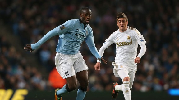 Ivory Coast international Yaya Toure in action for Manchester City