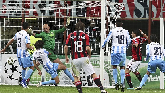 Alexandre Pato (r) earns AC Milan a 1-1 draw against Malaga