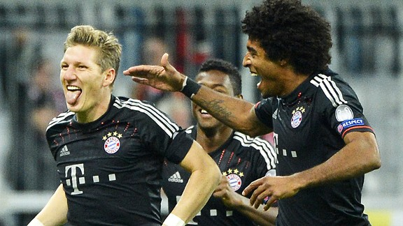 Joy for Bastian Schweinsteiger after he scored the opener in Bayern Munich's thrashing of Lille