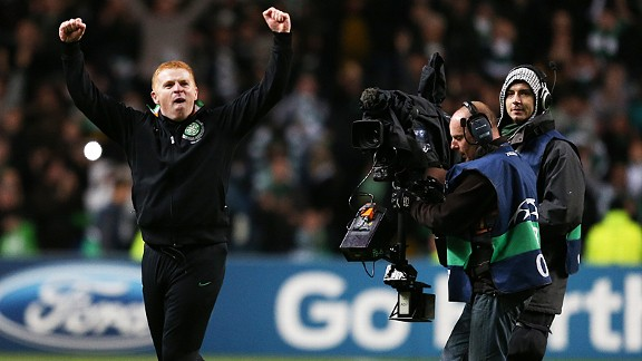 Neil Lennon celebrates Celtic's stunning win over Barcelona