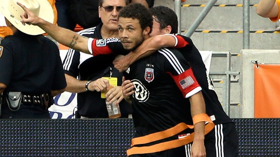 D.C. United's Nick DeLeon celebrates his goal MLS Eastern Conference Championship soccer game against the Houston Dynamo