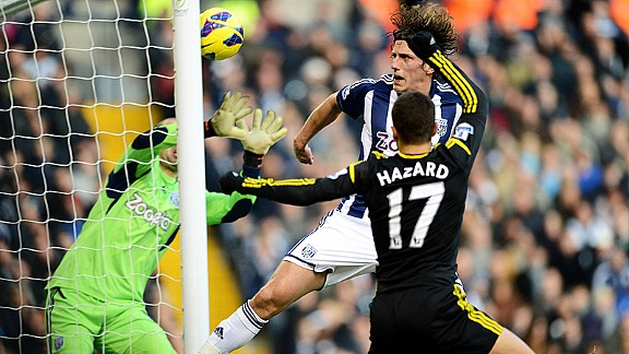 Eden Hazard squeezes home a header to bring Chelsea level at West Brom