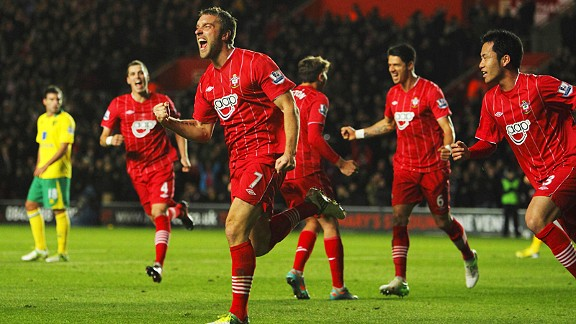 Rickie Lambert celebrates after giving Southampton the lead against Norwich