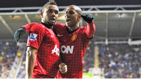 Anderson celebrates with Ashley Young after netting at Reading