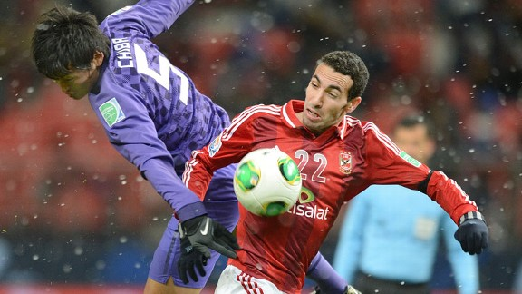 Veteran Mohamed Aboutrika scored for Al Ahly against Hiroshima to earn a semi-final berth
