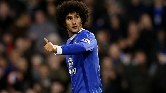 Marouane Fellaini is in fine goal-scoring form in his advanced role for Everton.