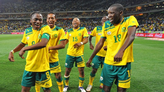 South Africa dance in jubilation after their goalless draw with Sierra Leone