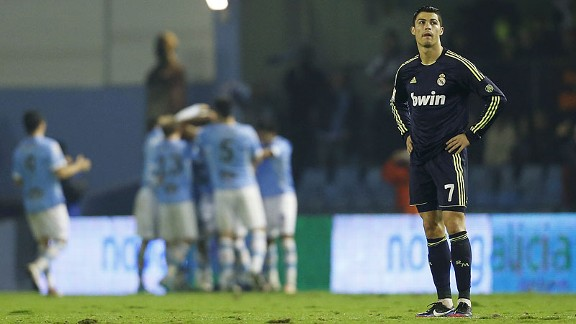 Cristiano Ronaldo of Real Madrid reacts to a Celta Vigo goal