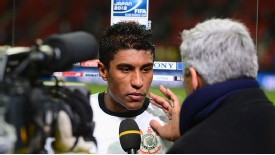 Paulinho of Corinthians is interviewed after the Club World Cup semi-final