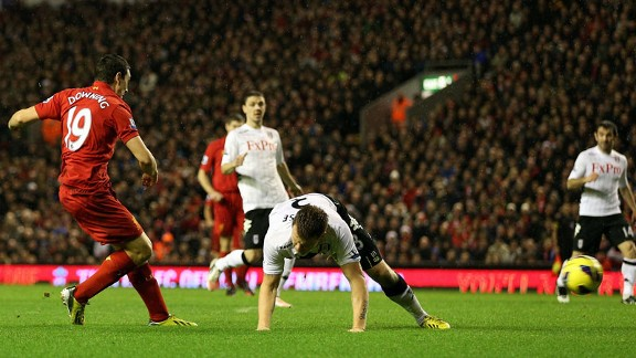 Stewart Downing fires home his first Premier League goal for Liverpool