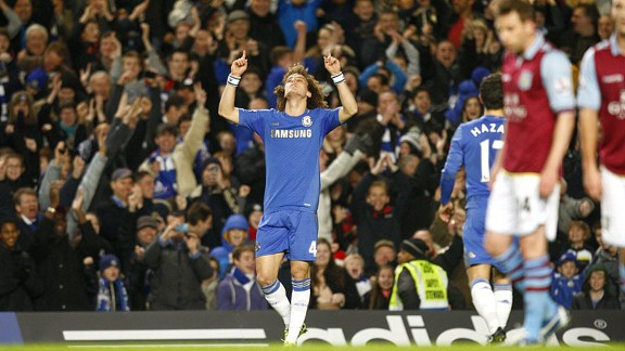David Luiz celebrates after doubling Chelsea's lead
