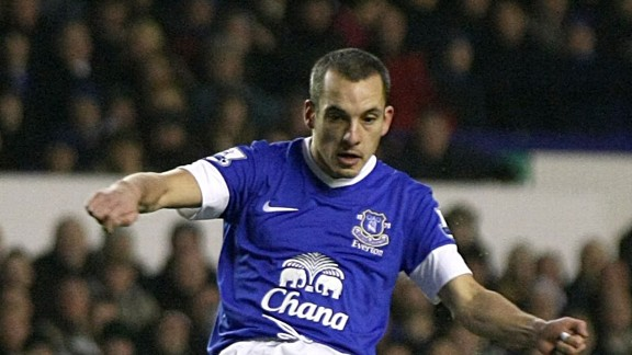 Leon Osman scored Everton's first goal in their Premier League game against Wigan