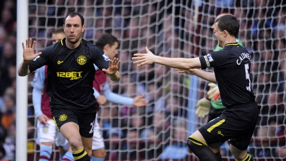 Ivan Ramis celebrates after giving Wigan the early lead at Aston Villa