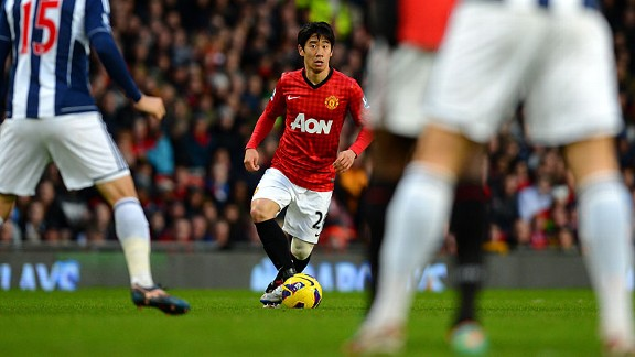 Man United's Shinji Kagawa does his thing against West Brom