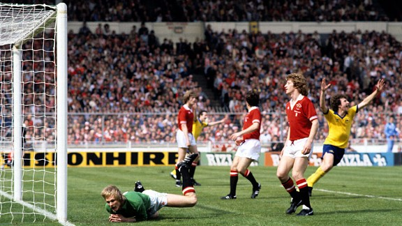 Arsenal's Alan Sunderland turns away to celebrate his late winner in 1979