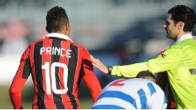 Kevin-Prince Boateng leaves the field during the friendly against Pro Patria in Busto Arsizio