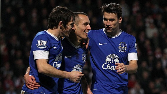 Leon Osman celebrates with his team-mates after netting Everton's third