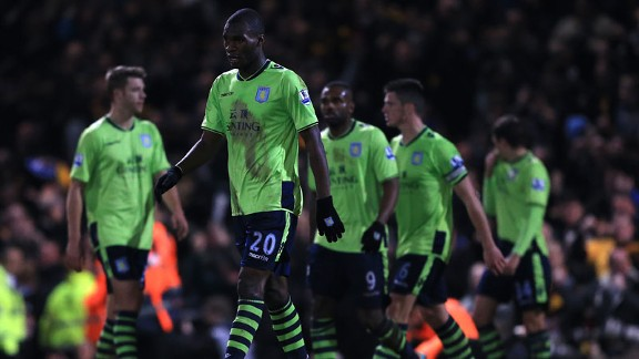 Christian Benteke cuts a dejected figure as he contemplates the size of Aston Villa's task following defeat to League Two Bradford