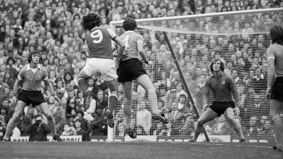 Arsenal play Manchester City at Highbury in 1975