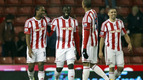 Kenwyne Jones is all smiles after putting Stoke ahead against Crystal Palace in the FA Cup