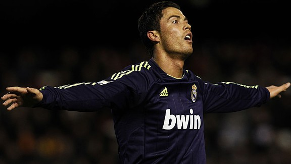 Cristiano Ronaldo celebrates after scoring against Valencia