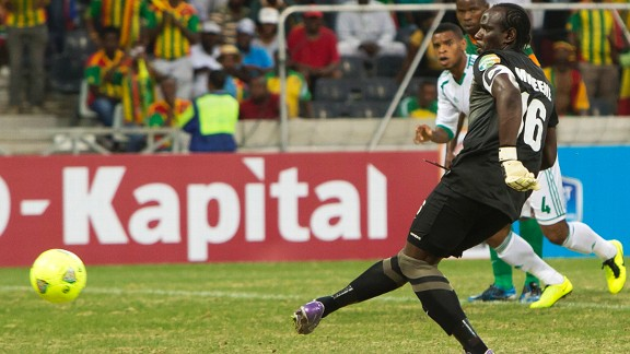 Kennedy Mweene of Zambia scores the equaliser from the penalty spot
