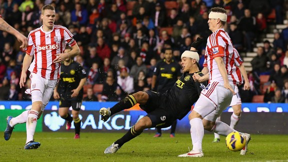 Franco Di Santo nets an equaliser for Wigan against Stoke