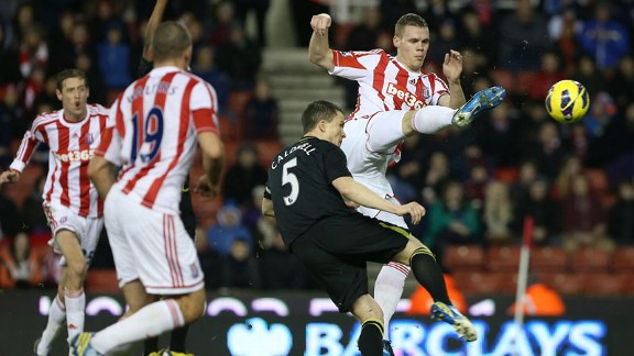 Ryan Shawcross puts Stoke City into the lead at home to Wigan