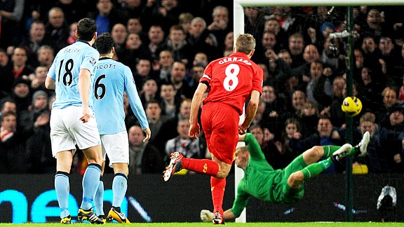 Steven Gerrard's fine long-range strike beats Man City keeper Joe Hart all ends up