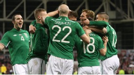 Ireland celebrate doubling their lead over Poland through Wes Hoolahan